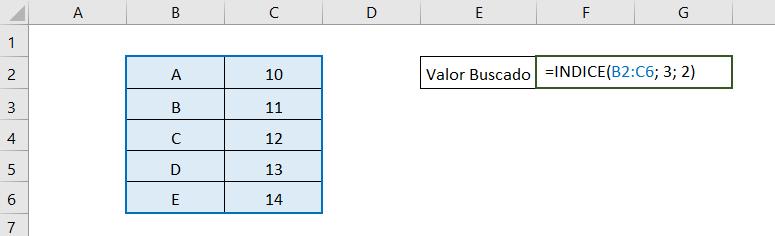 Ejemplo simple que muestra cómo funciona la función INDICE de Excel.  Muestra la matriz seleccionada y la fórmula que usamos