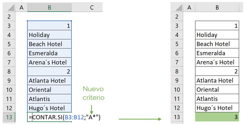 Contar celdas con texto y carácter comodín con función CONTAR.SI ejemplo 2.