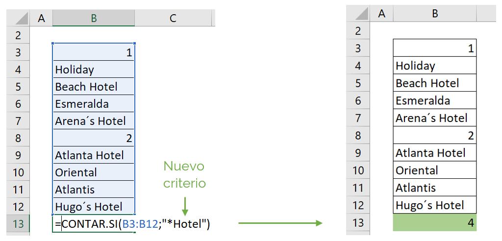 Contar celdas con texto y carácter comodín con función CONTAR.SI ejemplo 3