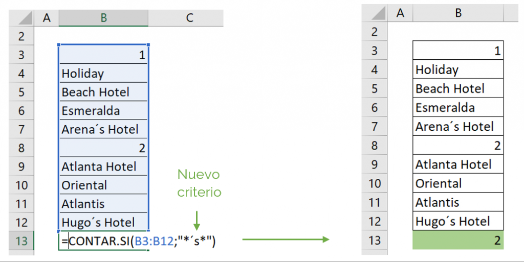 Contar celdas con texto y carácter comodín con función CONTAR.SI ejemplo 4.