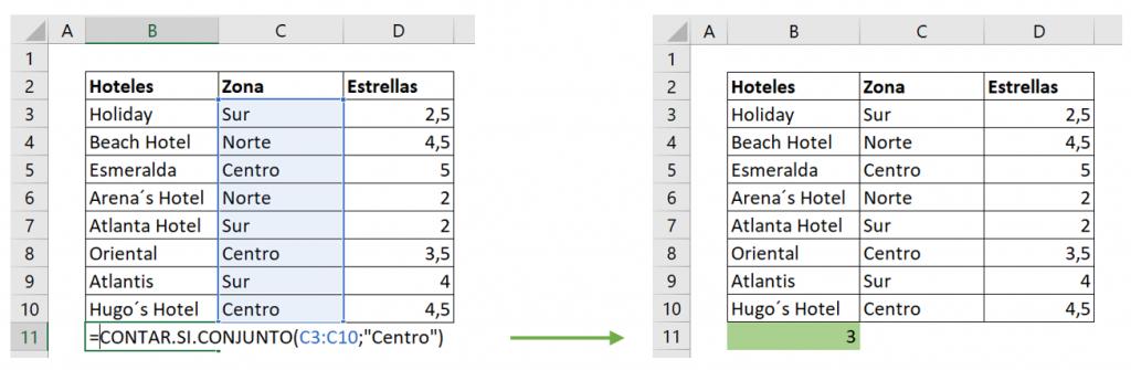 Contar celdas con texto con función CONTAR.SI.CONJUNTO ejemplo un criterio.