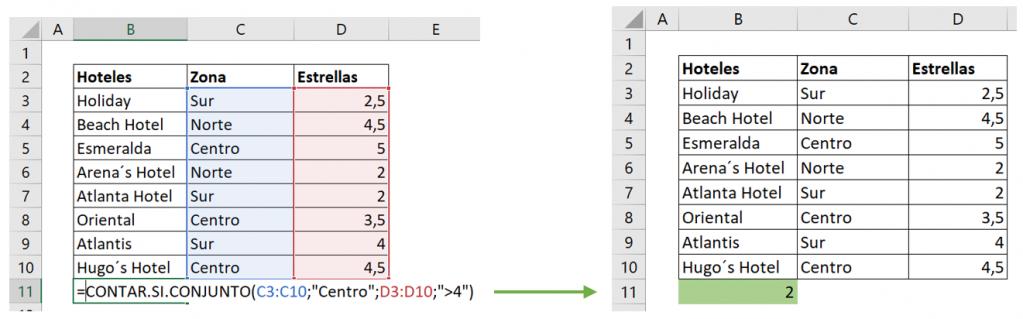 Contar celdas con texto con función CONTAR.SI.CONJUNTO dos criterios ejemplo.