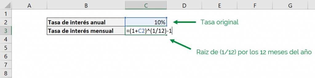 Excel función PAGO Excel pago pmt ejemplo formato tasa de interés anual a mensual compuesto