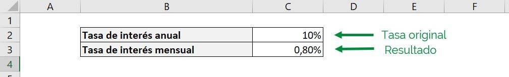 Excel función PAGO Excel pago pmt ejemplo formato tasa de interés anual a mensual simple compuesto resultados