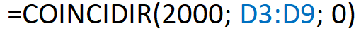 Formula que muestra cómo se utiliza la función COINCIDIR de Excel con una coincidencia exacta