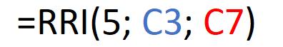 Fórmula de la función RRI que utilizamos para calcular la CAGR de una inversión.