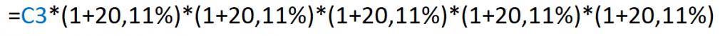 Fórmula que utilizamos para obtener el monto final de una inversión a través de la CAGR y del monto inicial de inversión