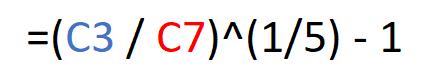 Fórmula de la fórmula CAGR en el ejemplo.